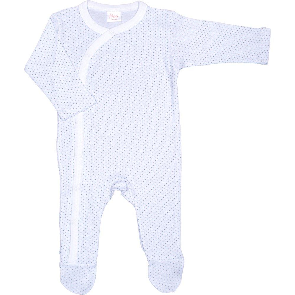 Salopetă mânecă lungă și pantaloni cu botoșei albă cu buline azur | liloo