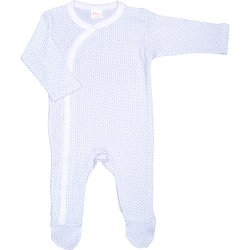 White long-sleeve sleep & play with footies with azure dots