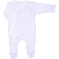 White long-sleeve sleep & play with footies with purple dots