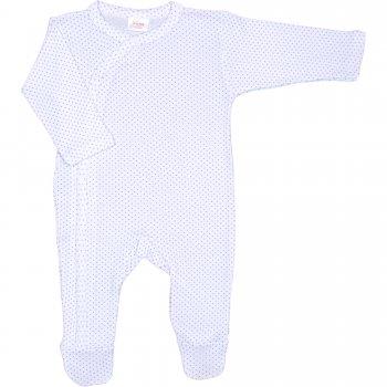 Salopetă mânecă lungă și pantaloni cu botoșei albă cu buline mov | liloo