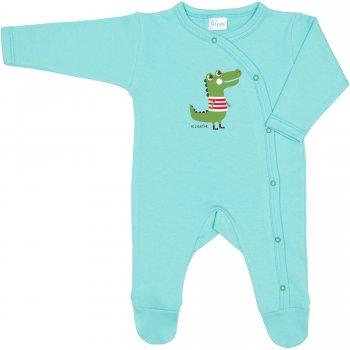 Salopetă mânecă lungă și pantaloni cu botoșei aqua imprimeu aligator | liloo