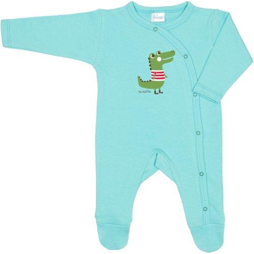 Salopetă mânecă lungă și pantaloni cu botoșei aqua imprimeu aligator