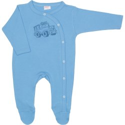 Azure long-sleeve sleep & play with footies with 4x4 car print