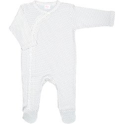 Cream-colored long-sleeve sleep & play with footies with brown dots