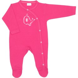 Fuchsia long-sleeve sleep & play with footies with whale print
