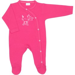Fuchsia long-sleeve sleep & play with footies with cat print