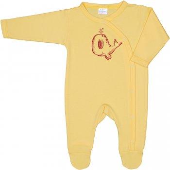Salopetă mânecă lungă și pantaloni cu botoșei galbenă imprimeu balenă