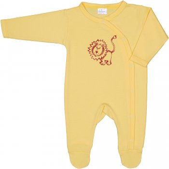 Salopetă mânecă lungă și pantaloni cu botoșei galbenă imprimeu leu