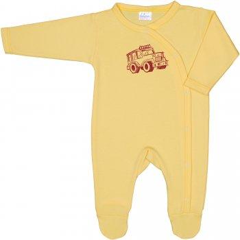 Salopetă mânecă lungă și pantaloni cu botoșei galbenă imprimeu mașinuță