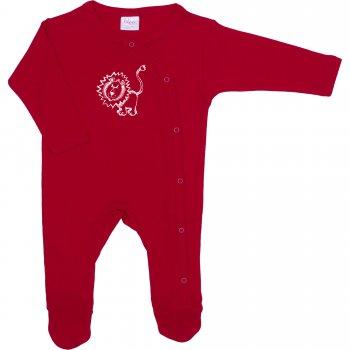 Salopetă mânecă lungă și pantaloni cu botoșei roșie imprimeu leu | liloo