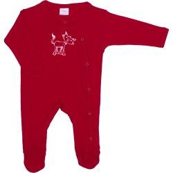 Salopetă mânecă lungă și pantaloni cu botoșei roșie imprimeu pisică