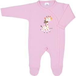 Pink long-sleeve sleep & play with footies with giraffe print