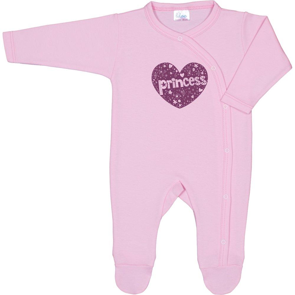 Salopetă mânecă lungă și pantaloni cu botoșei roz imprimeu prințesă | liloo