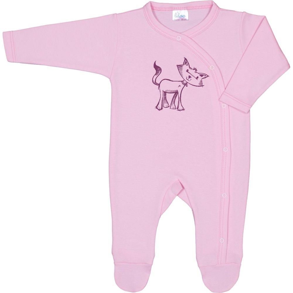 Salopetă mânecă lungă și pantaloni cu botoșei roz imprimeu pisică | liloo