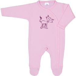 Salopetă mânecă lungă și pantaloni cu botoșei roz imprimeu pisică