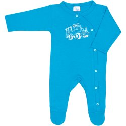 Turquoise long-sleeve sleep & play with footies with 4x4 car print