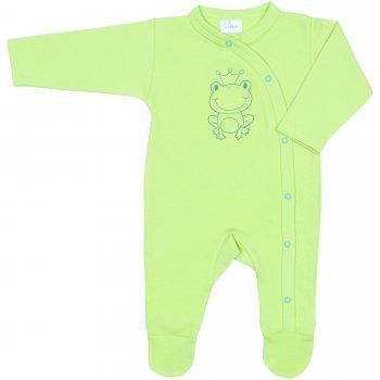 Salopetă mânecă lungă și pantaloni cu botoșei verde lime imprimeu broscuță | liloo