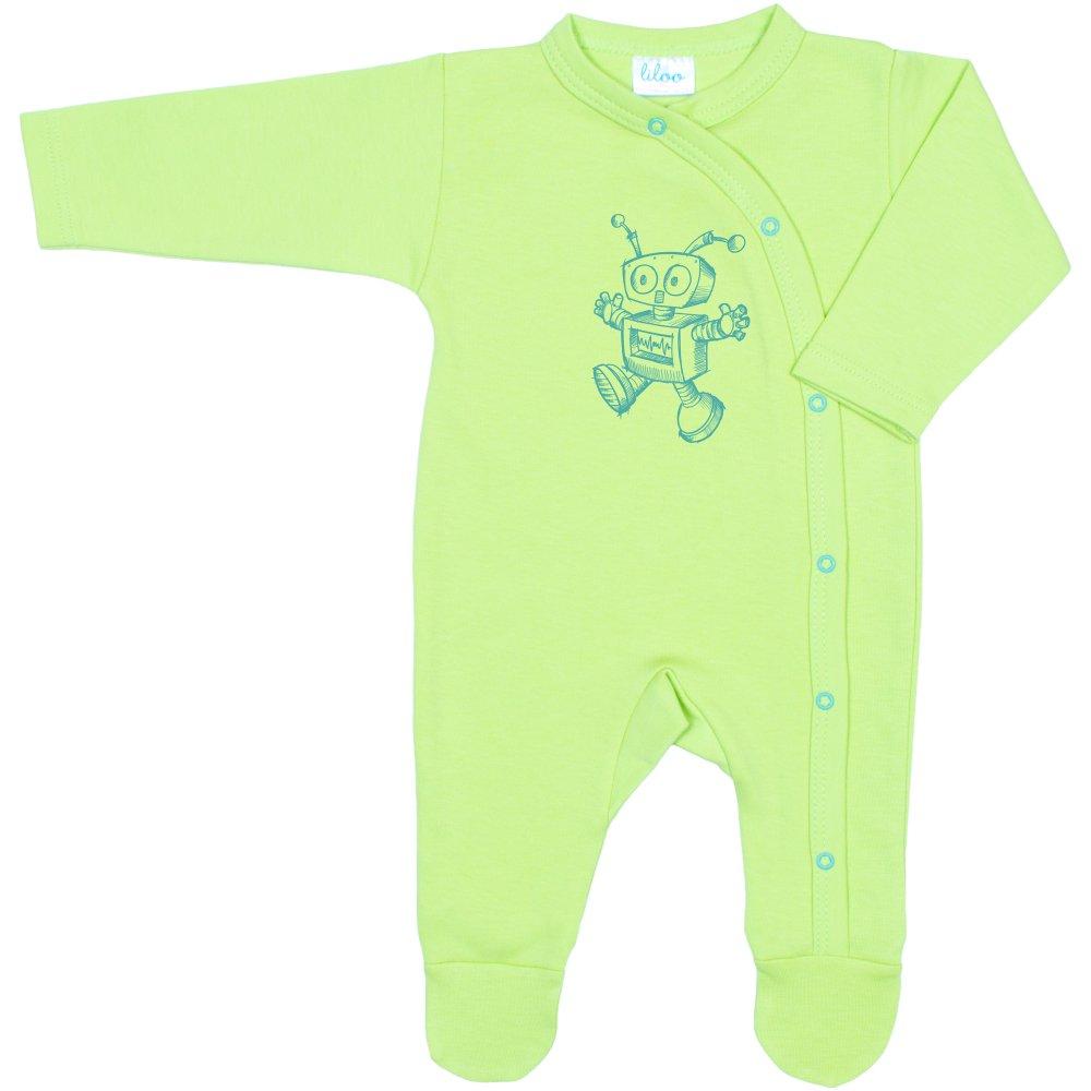 Salopetă mânecă lungă și pantaloni cu botoșei verde lime imprimeu robotel | liloo