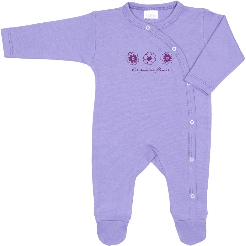 Salopetă mânecă lungă și pantaloni cu botoșei violet imprimeu floricele (închidere laterală) | liloo