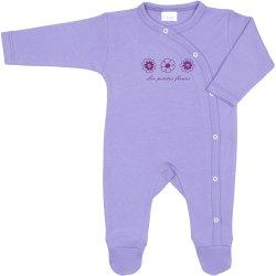 Salopetă mânecă lungă și pantaloni cu botoșei violet imprimeu floricele