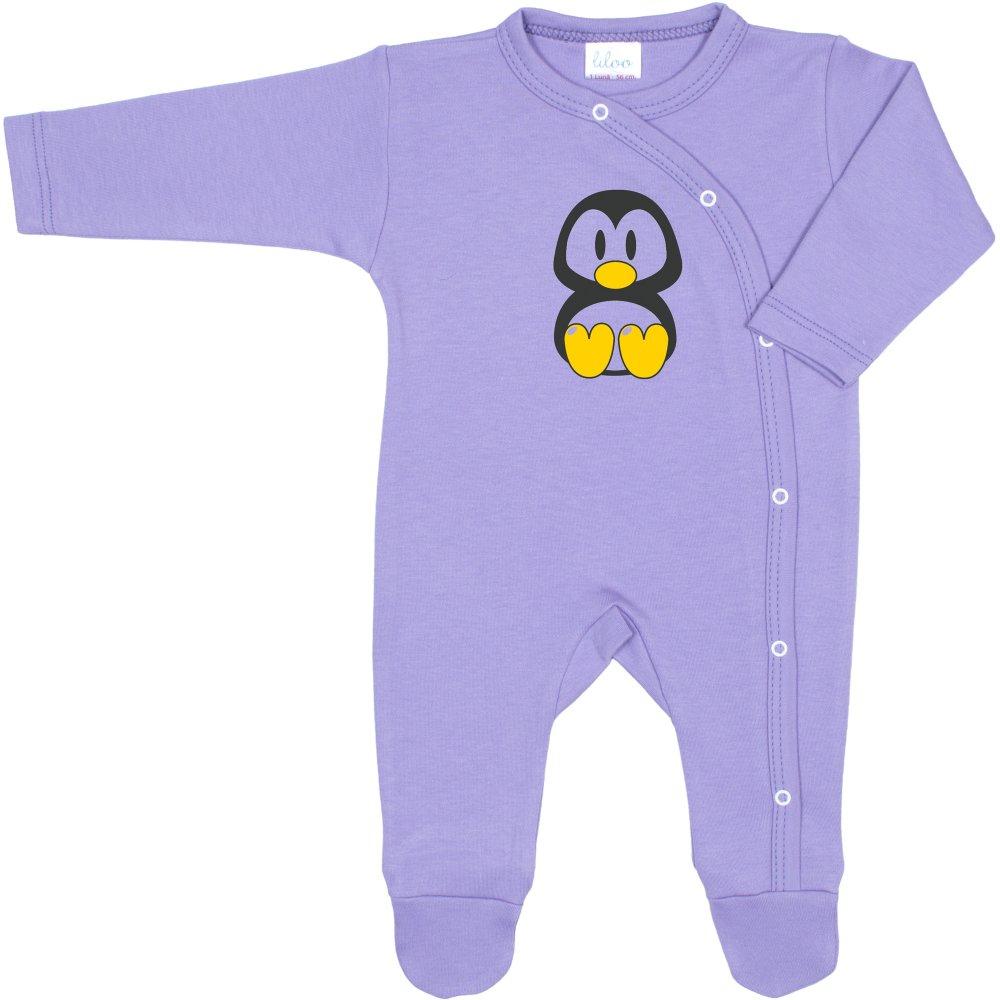 Salopetă mânecă lungă și pantaloni cu botoșei violet imprimeu pinguinul Tux | liloo