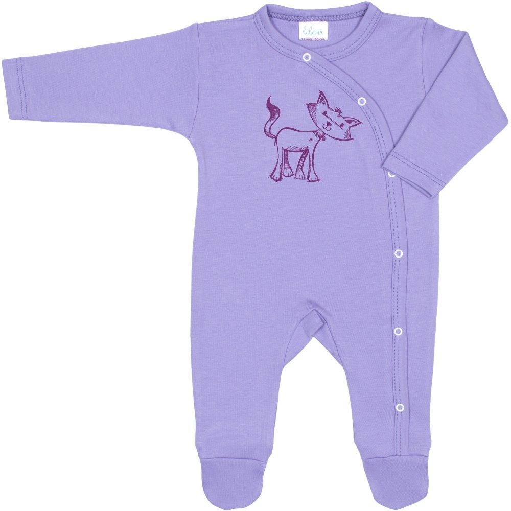 Salopetă mânecă lungă și pantaloni cu botoșei violet imprimeu pisică | liloo