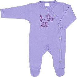 Salopetă mânecă lungă și pantaloni cu botoșei violet imprimeu pisică