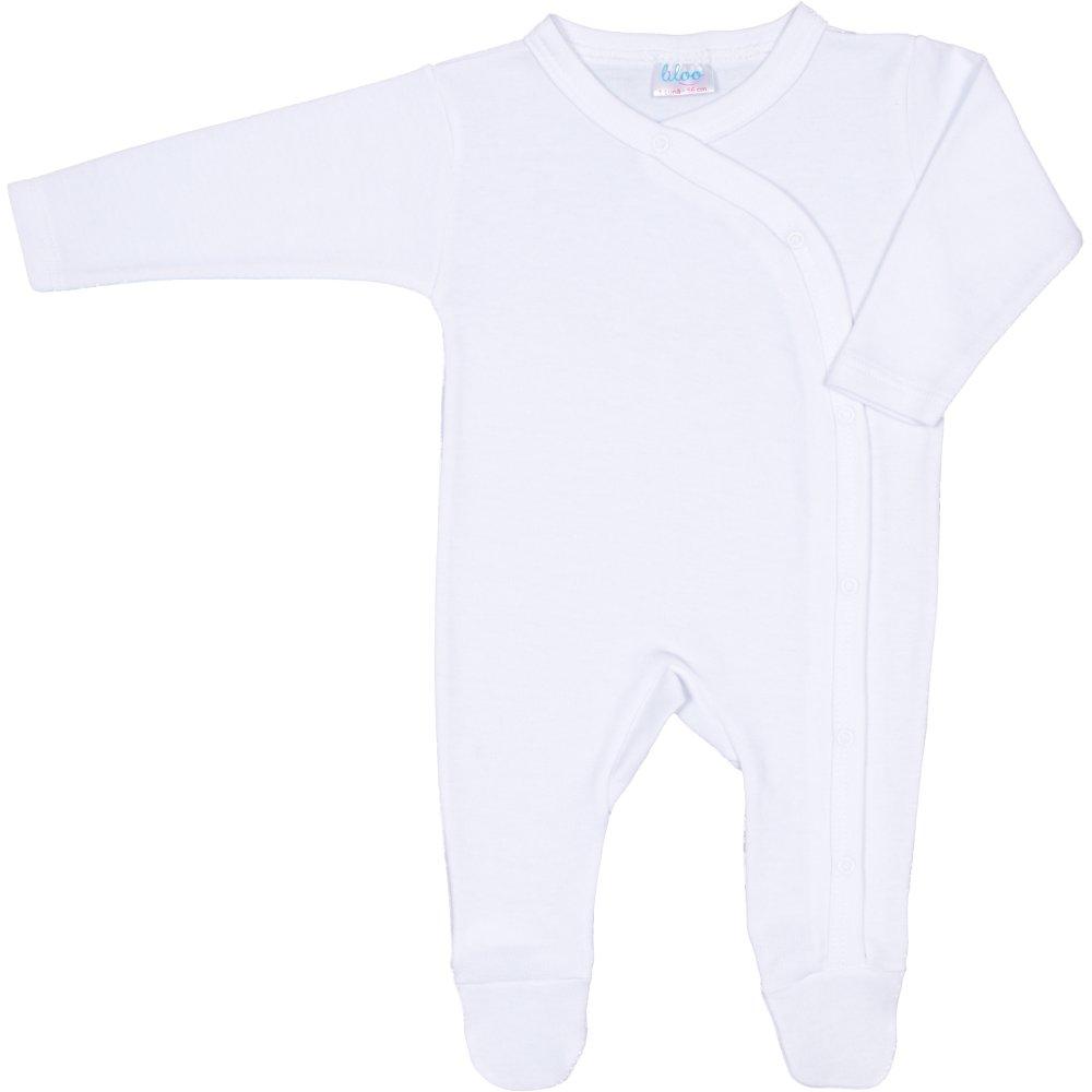 Salopetă mânecă lungă și pantaloni cu botoșei albă uni (deschidere laterală) | liloo