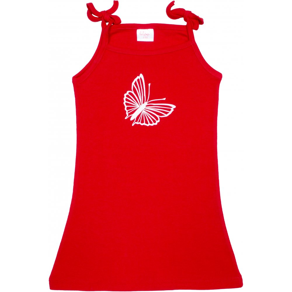 Rochiță de vară pentru fetițe - roșie imprimeu fluturaș | liloo