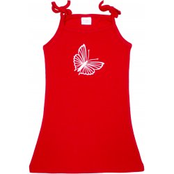 Red simple summer dress with butterfly print