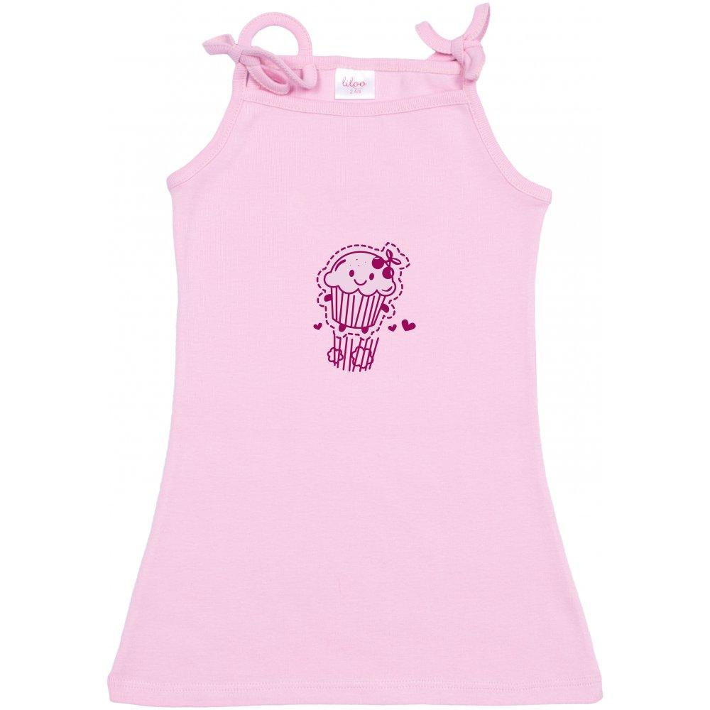 Rochiță de vară simplă pentru fetițe - roz imprimeu prăjiturică | liloo