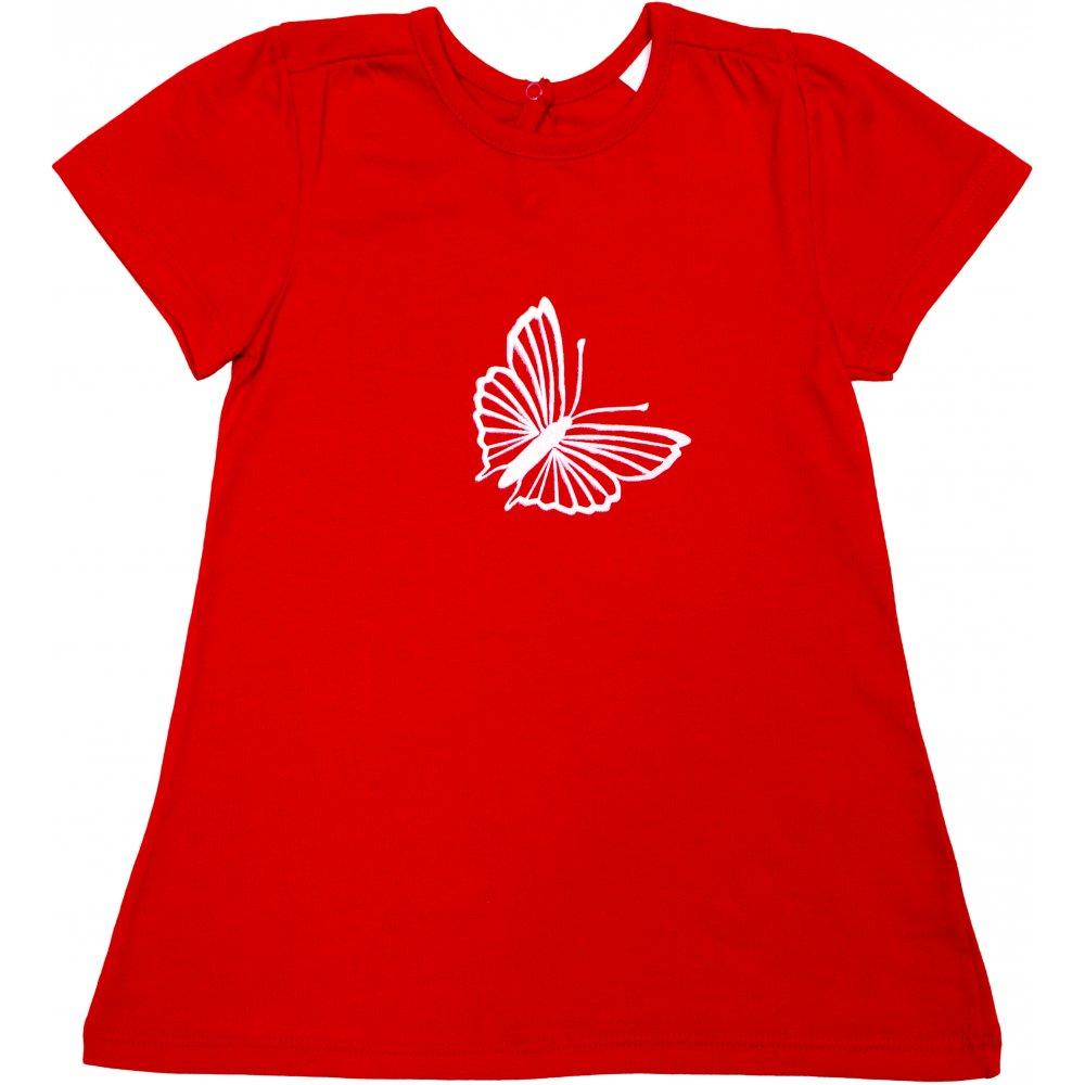 Tricou mânecă scurtă pentru fetițe - roșu imprimeu fluturaș | liloo