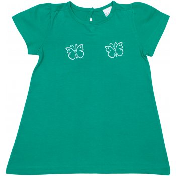 Tricou mânecă scurtă pentru fetițe - verde mint imprimeu fluturași