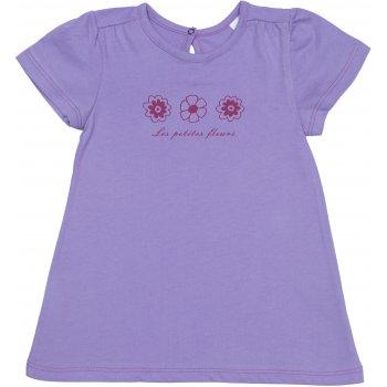 Tricou mânecă scurtă pentru fetițe - violet imprimeu floricele