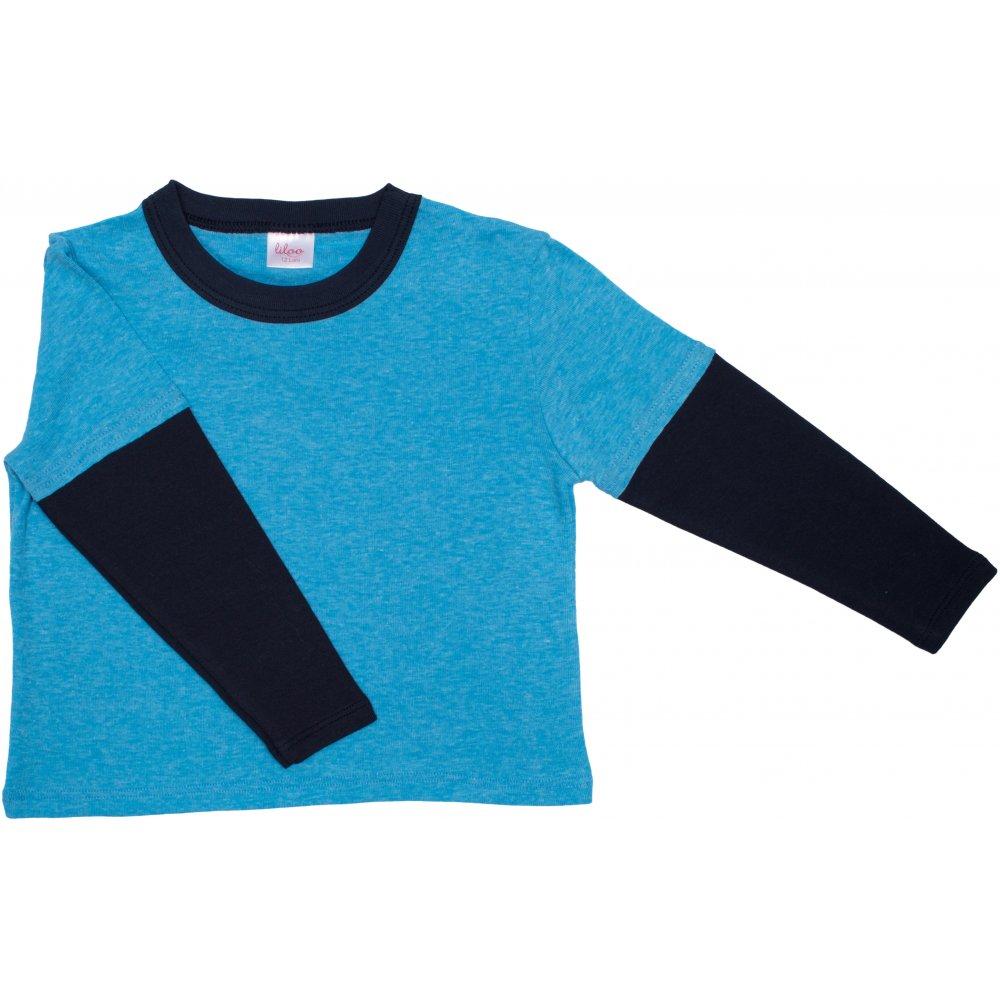 Tricou mânecă lungă contrast azur și bleumarin închis | liloo