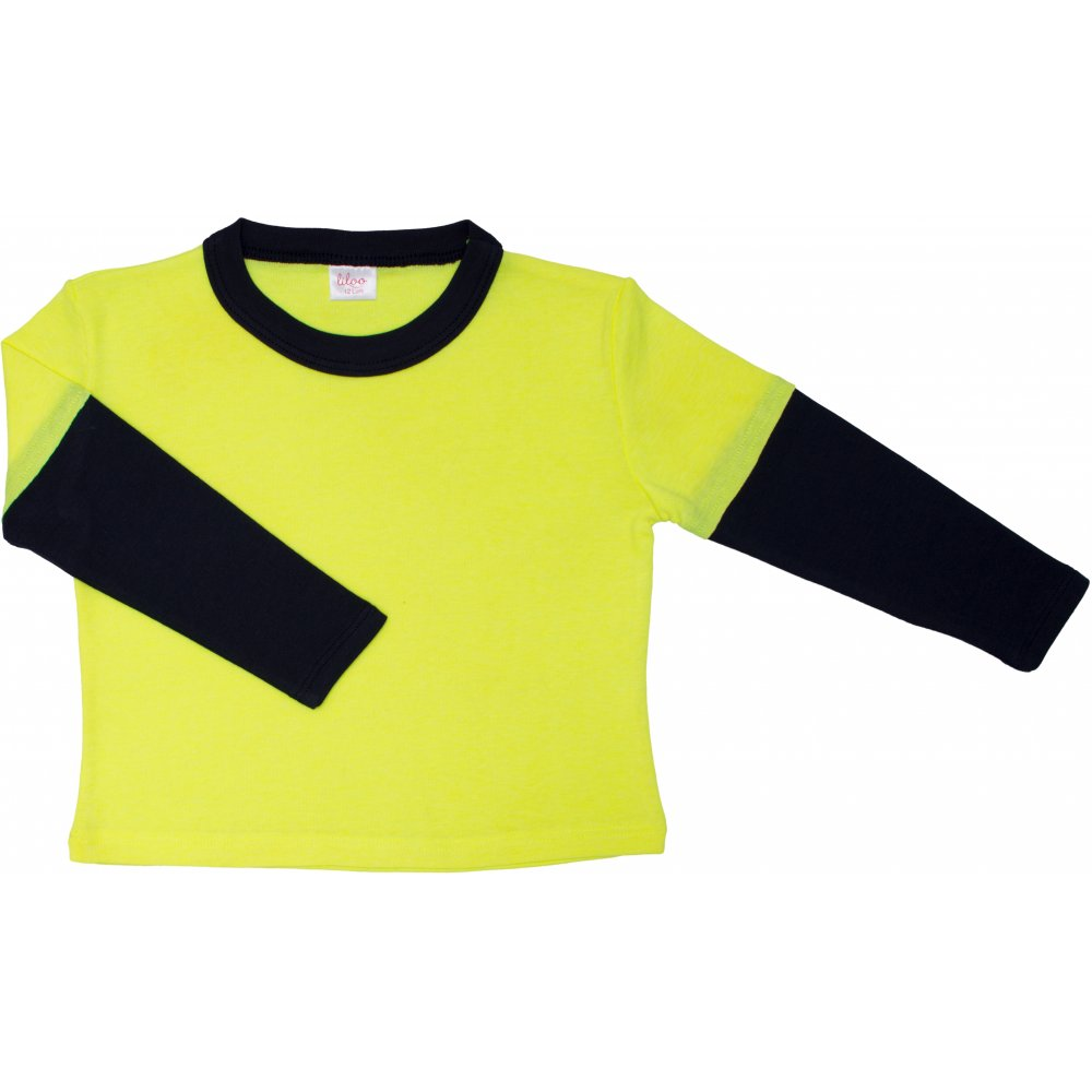Tricou mânecă lungă contrast galben neon și bleumarin închis | liloo