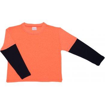 Tricou mânecă lungă contrast orange neon și bleumarin închis