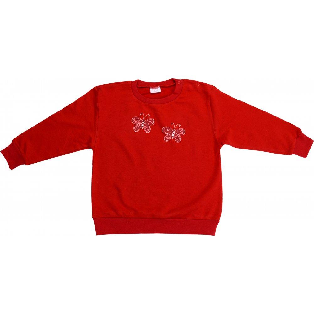 Bluză trening subțire roșie imprimeu fluturași | liloo