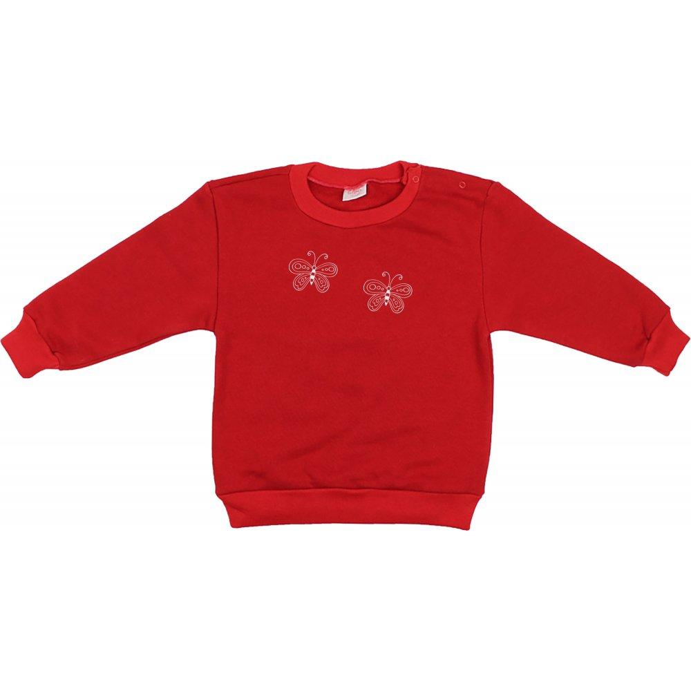 Bluză trening groasă roșie imprimeu fluturași | liloo
