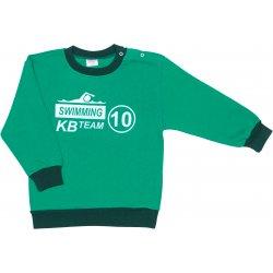 Bluză trening groasă (flaușată) verde imprimeu swimming