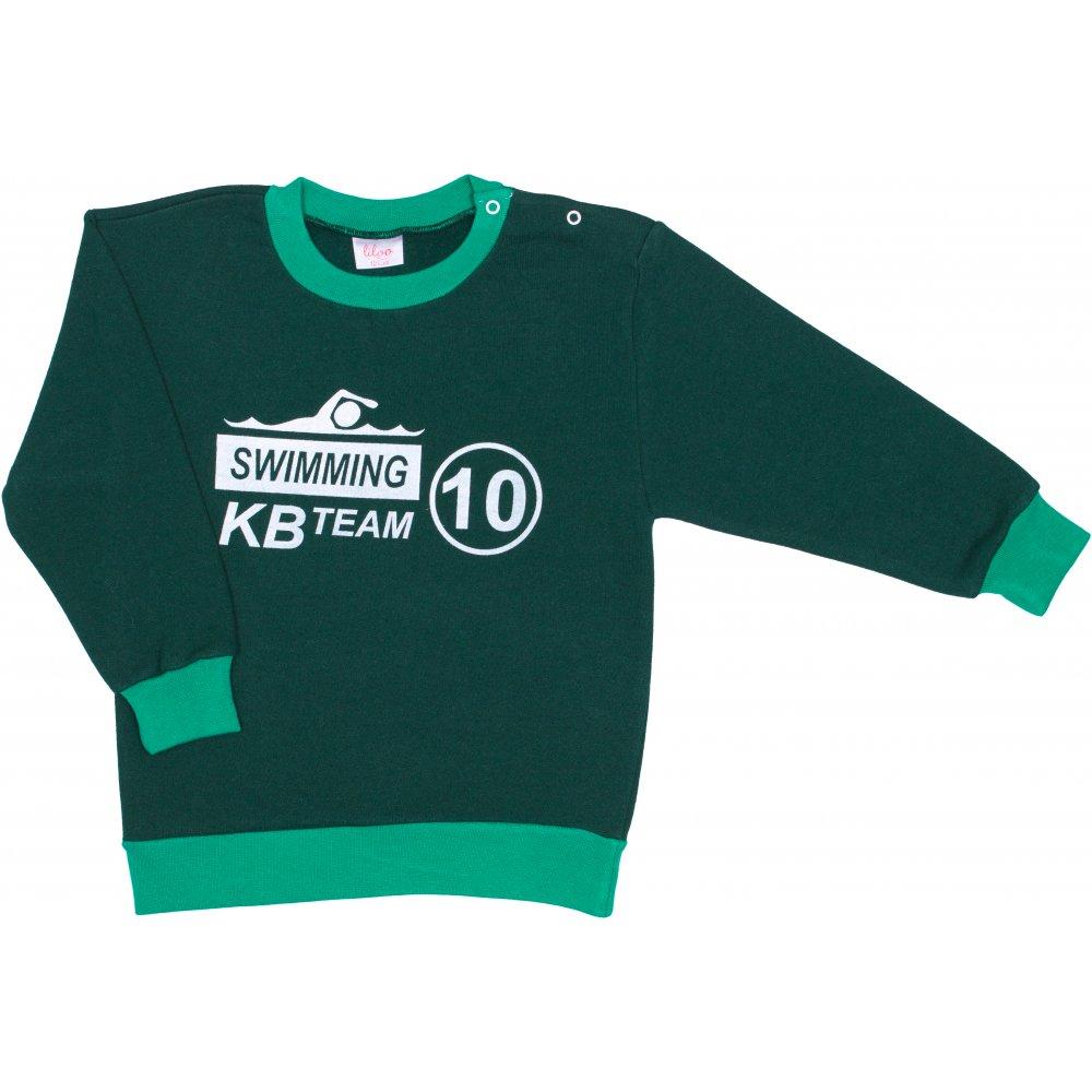 Bluză trening groasă verde închis imprimeu swimming | liloo