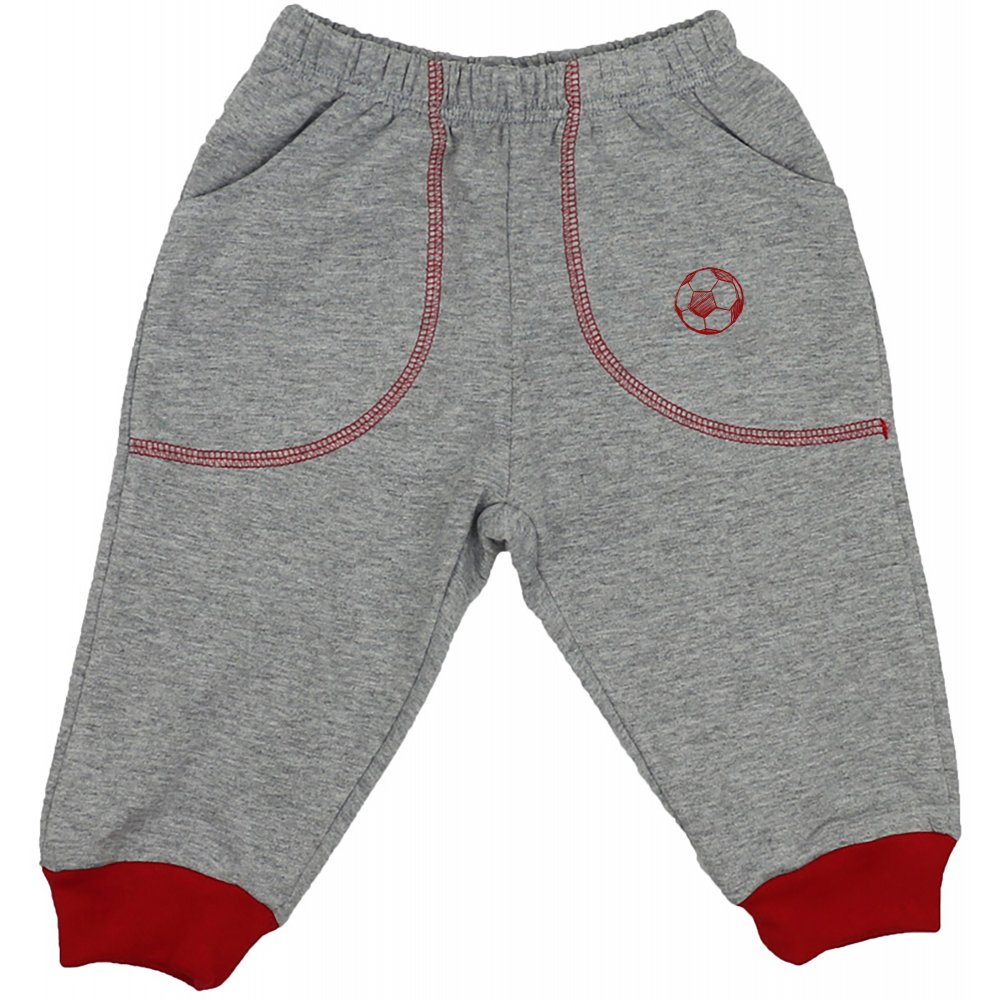 Pantaloni trening subțiri gri - manșete roșii cu buzunar imprimeu minge | liloo