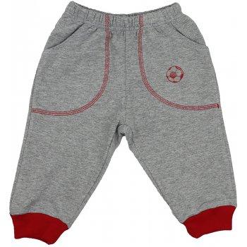 Pantaloni trening subțiri gri - manșete roșii cu buzunar imprimeu minge