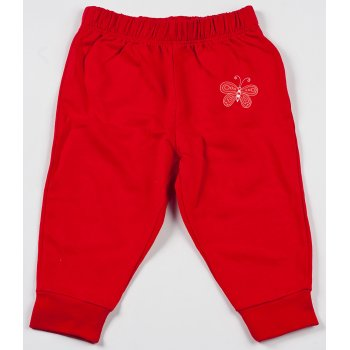 Pantaloni trening subțiri roșii imprimeu fluturaș