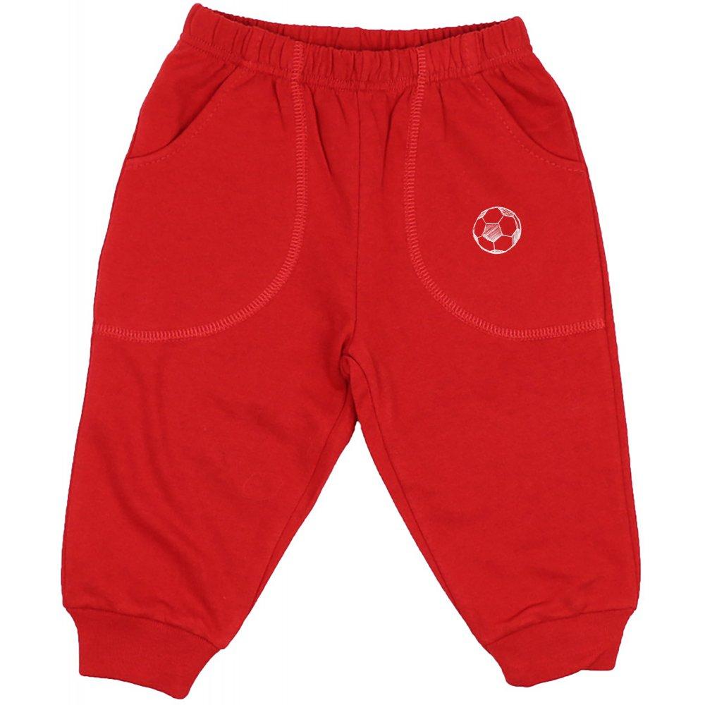 Pantaloni trening subțiri roșii cu buzunar imprimeu minge | liloo