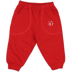 Red thin joggers with football print