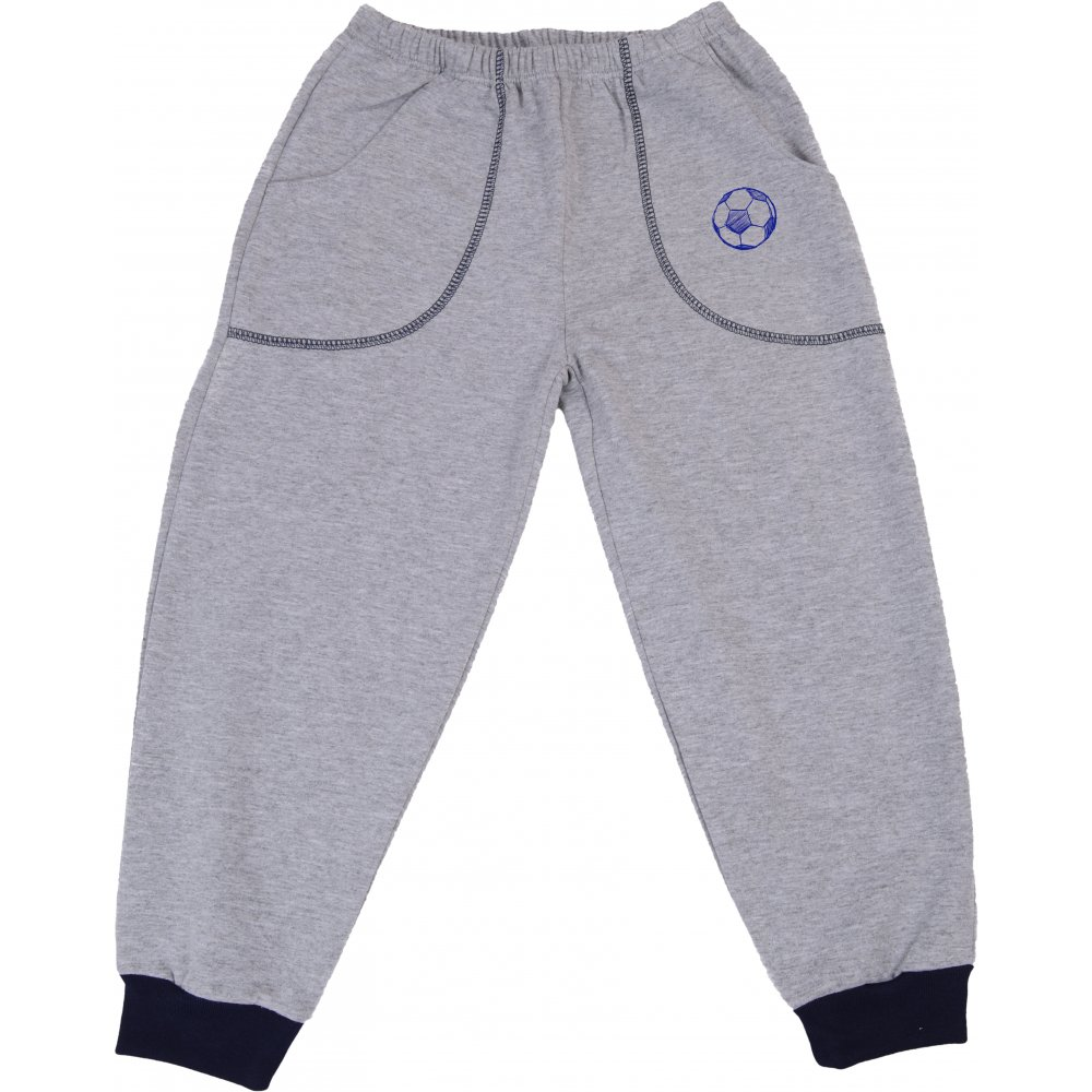 Pantaloni trening subțiri gri - manșete bleumarin cu buzunar imprimeu minge | liloo