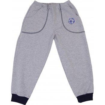 Pantaloni trening subțiri gri - manșete bleumarin cu buzunar imprimeu minge