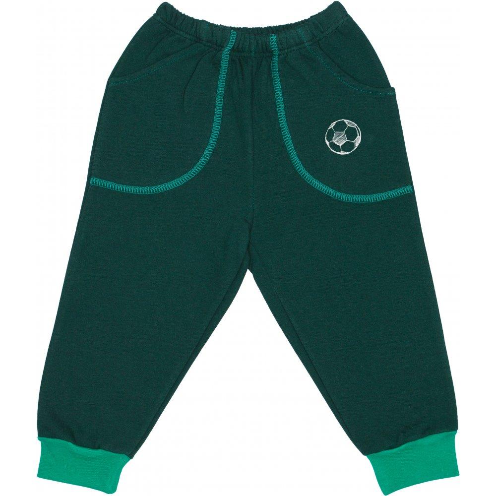 Pantaloni trening groși verde închis cu buzunar imprimeu minge | liloo