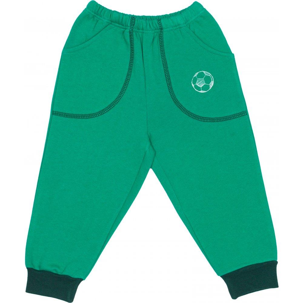 Pantaloni trening groși verzi cu buzunar imprimeu minge | liloo